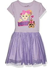 JoJo Siwa Girls J6SS212-9S68#Besties Emoji JoJo Bow Bow Siwa Tutu Dress with Tulle Skirt Short Sleeve Casual Dress