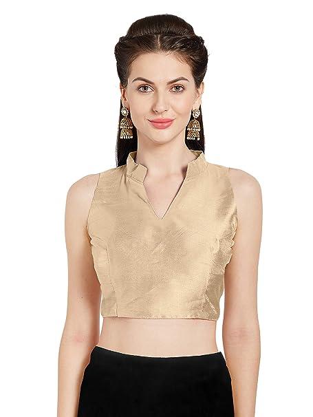 bddede090fb02c SOURBH Women s Beige Art Silk Readymade Party Saree Blouse Chinese Collar  Sleeveless Choli Mirchi Fashion Top