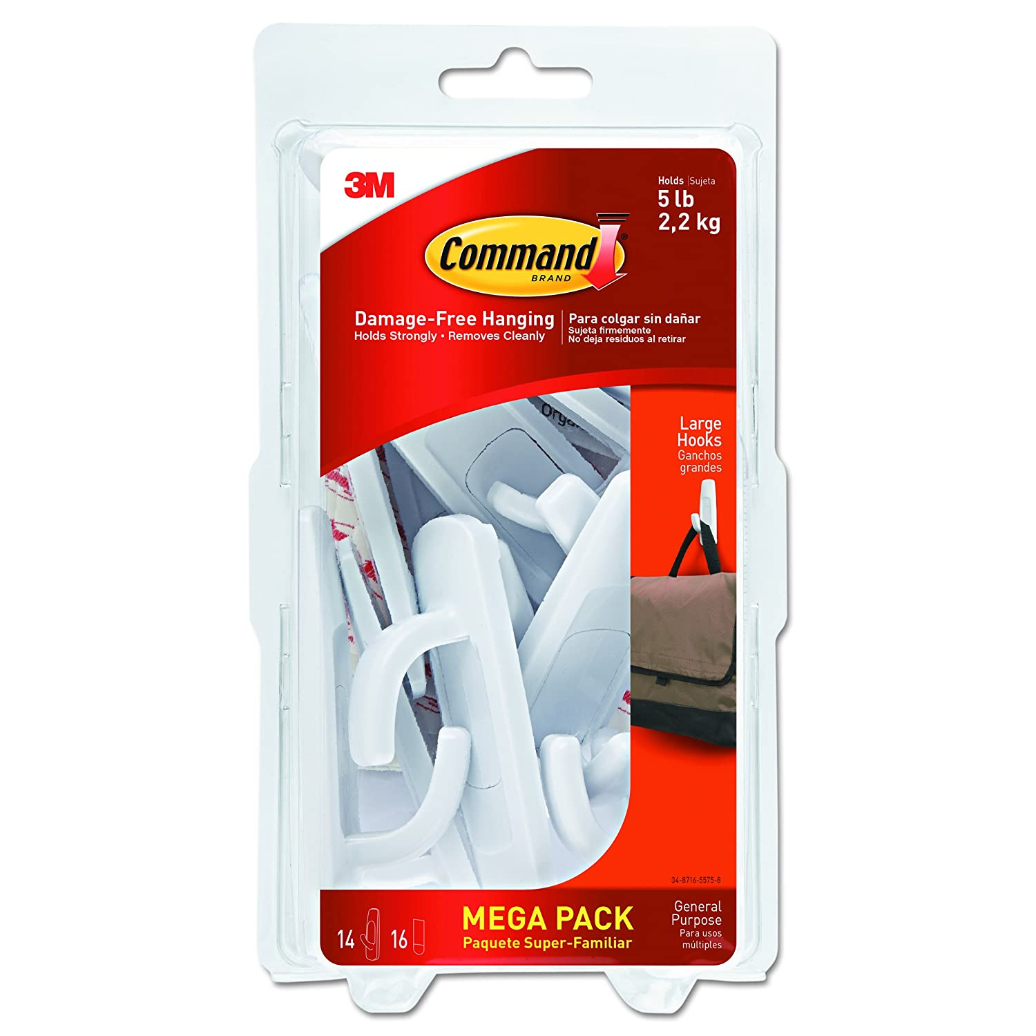 Command 051141993133 Large Utility Mega Pack, White, 14-Hooks, 16-Strips (17003-MPES), Count