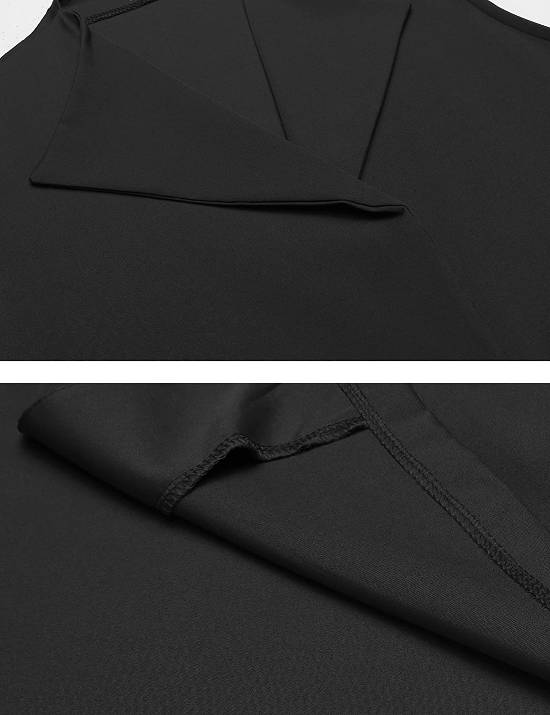 Beyove Womens Casual Belted Lapel Sleeveless Cardigan Long Suit Vest Black XL BVH025641/_B/_XL