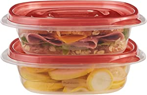 Rubbermaid TakeAlongs Square Food Storage Containers, 2.9 Cup, Tint Chili, 2 Count FG7F71RETCHIL