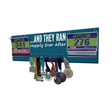 RunningontheWall Valentines Day Runners Medal Rack and Bib Hanger Valentines Gift for Running Couples Family and Loved Ones  ...AND THEY RAN HAPPILY EVER AFTER  Double Race Bibs Medal Holder Design