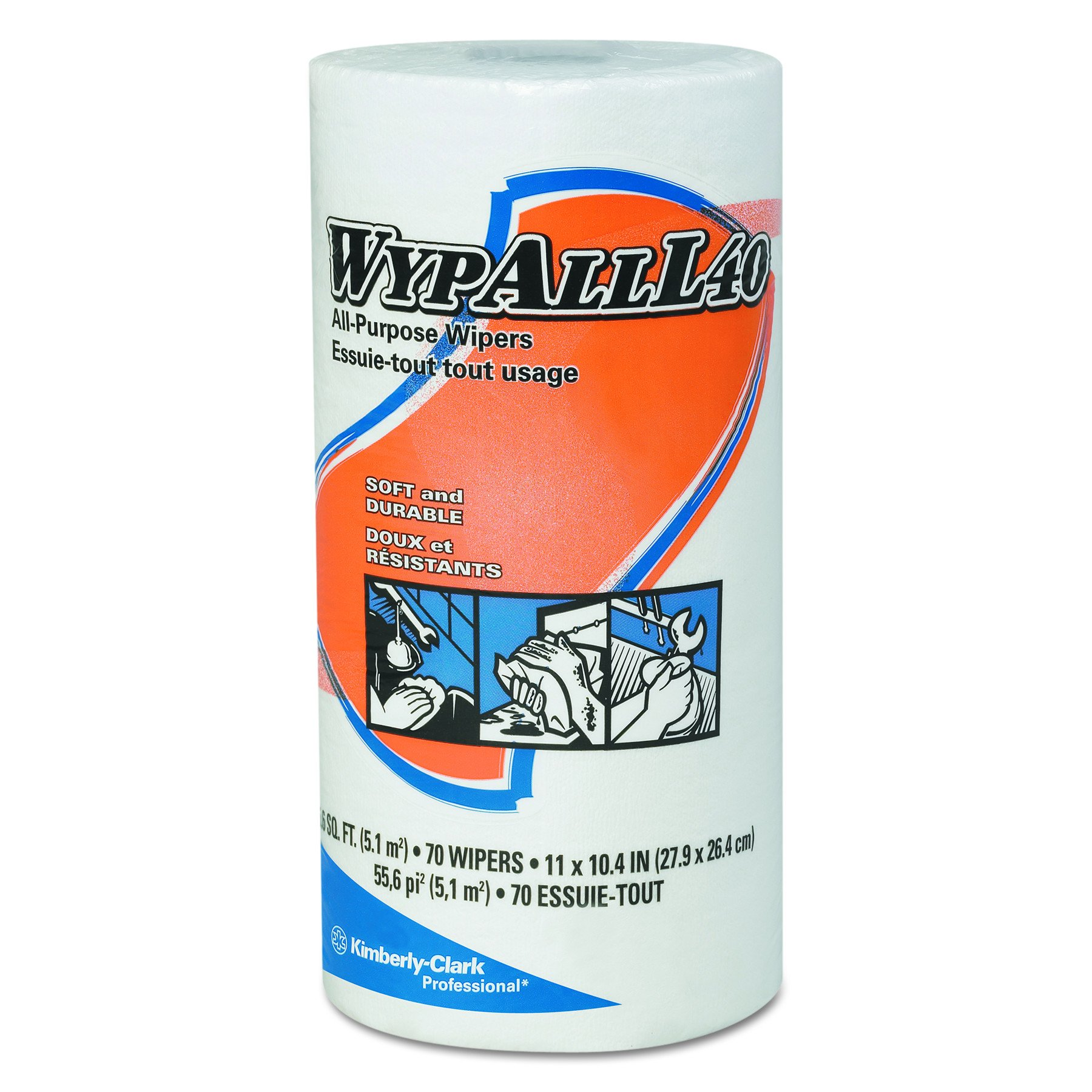 Kimberly-Clark Wypall L40 DRC Wipers, 11'' Length x 10-25/64'' Width, White (24 Rolls of 70)