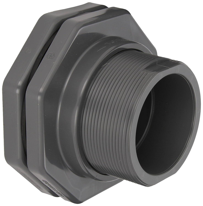 "Hayward BFA1040SES Series BFA Standard Flange Bulkhead Fitting, Socket x Socket End, PVC with EPDM Seals, 4"" Size"