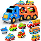 9 pcs Cars Toys for 2 3 4 5 Years Old Toddlers, Big Carrier Truck with 8 Small Cartoon Pull Back Cars, Colorful Assorted Vehi