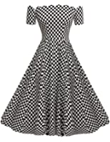 ACEVOG Women's Wave Point 1950s Style Vintage Swing Party Off Shoulder Dress