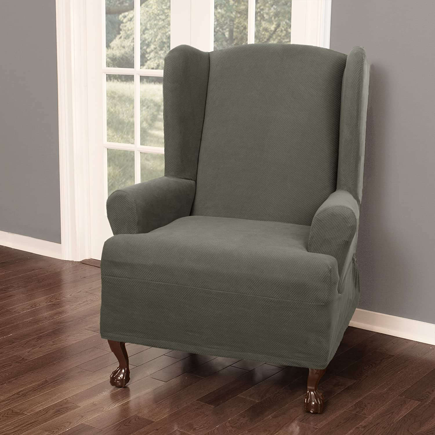 Maytex Pixel Ultra Soft Stretch Wing Back Arm Chair Furniture Cover Slipcover Dusty Olive