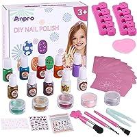 Anpro juego de esmaltes de uñas DIY, pegatinas de tatuajes temporales a juego, regalo creativo para niñas, kit de salón…