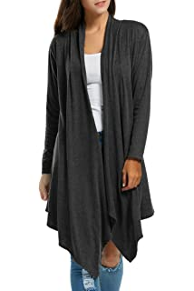 8ada327e80 Womens Long Sleeve Open Front Long Maxi Cardigan Waterfall Asymmetric  Draped Duster Coat