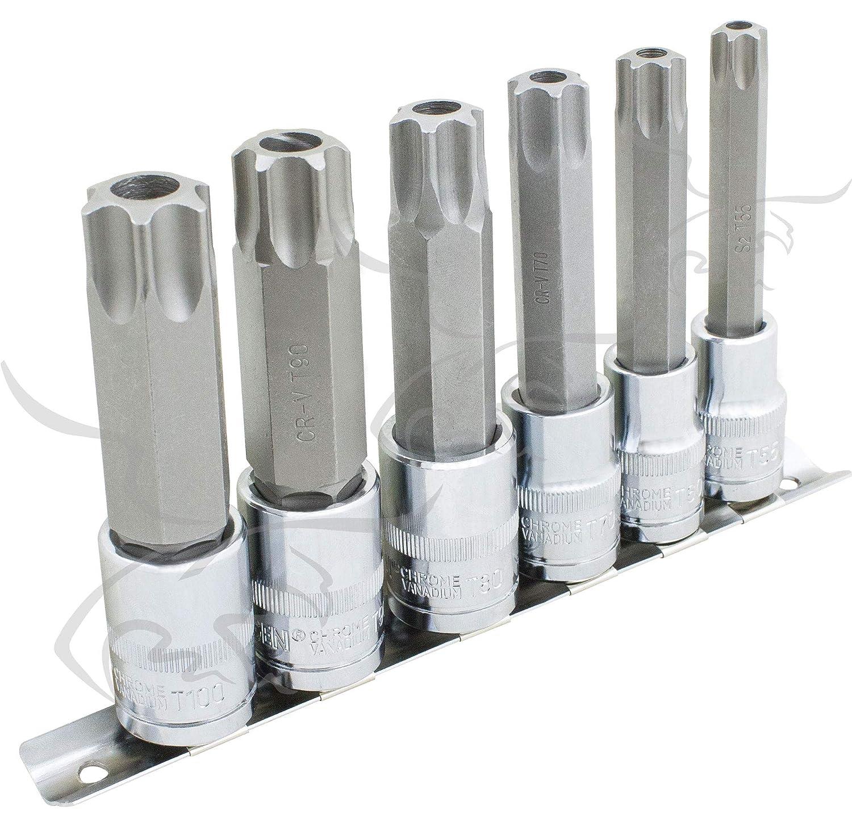 Juego de llaves vaso con puntas de seguridad Torx T55 T60 T70 T80 T90 y T100 vasos 1//2 inviolables