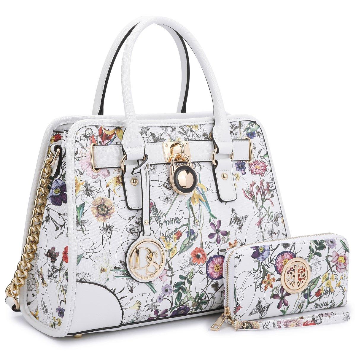 Dasein Women's Designer Padlock Striped Belted Top Handle Satchel Handbag Purse Shoulder Bag With Wallet (White Floral Style)