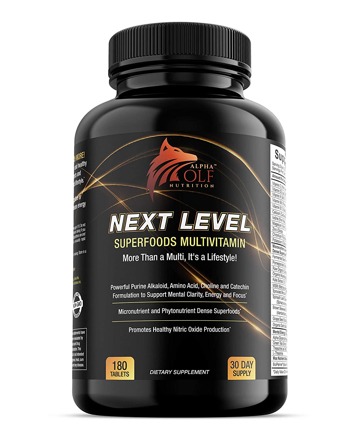Next Level SuperFoods Multivitamin – Increase Energy, Focus and Blood Flow – Beetroot, Pomegranate, Raw Cacao, Kale, Spinach, Seaweed, Green Tea, Alpha GPC, Teacrine, MSM, Sprouted Broccoli Seed