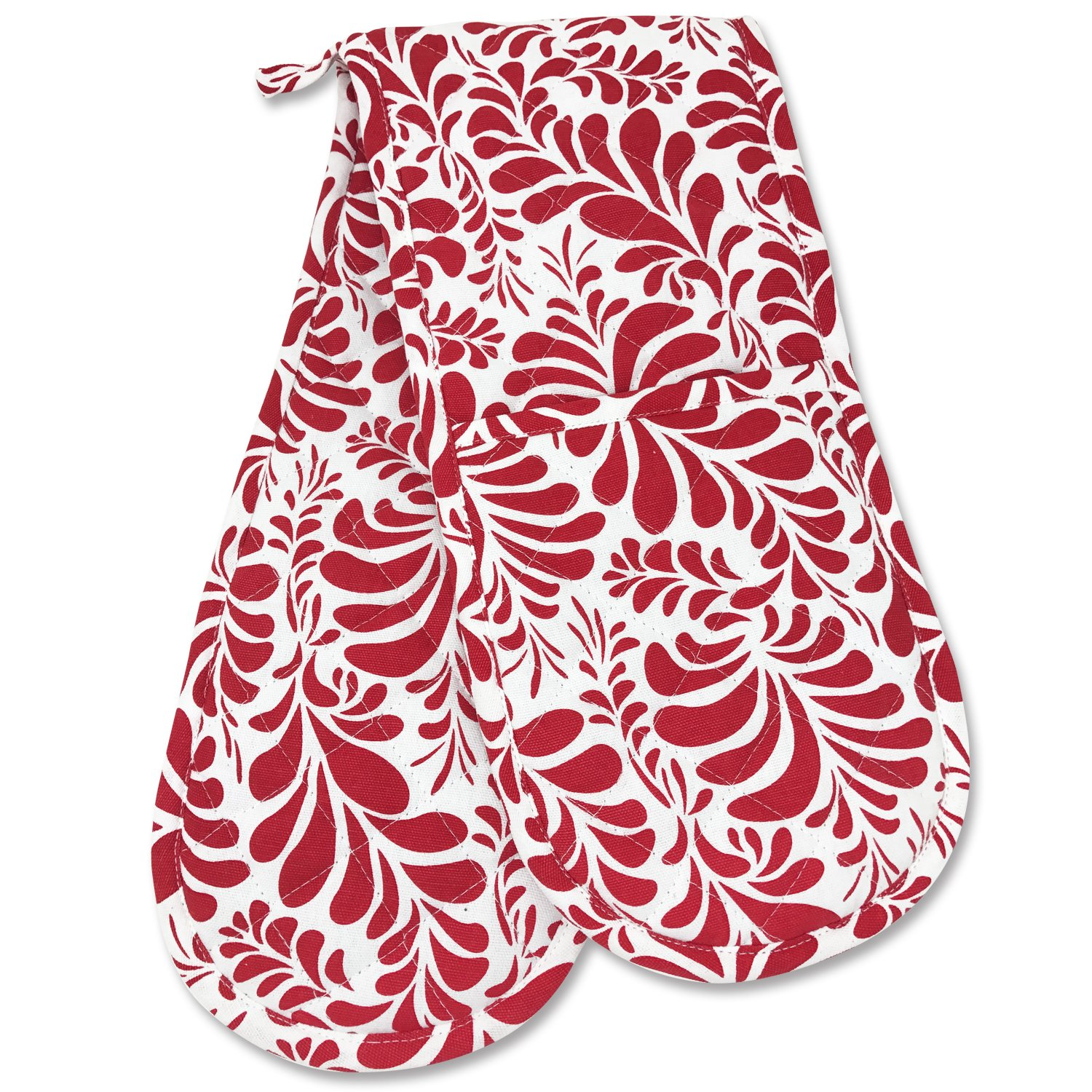 Smart Home, Pretty Red, 1 Piece, Long Double Oven Mitts Gloves, Heat Resistant, 100% Cotton, Extra Thick, Quilted