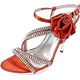 Chaussures de mariage ouvertes à fleur, strass et talons hauts