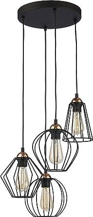 Hange Lampe Wohnzimmer Leuchte Kafig Hangelampe Retro Schwarz 46 Cm