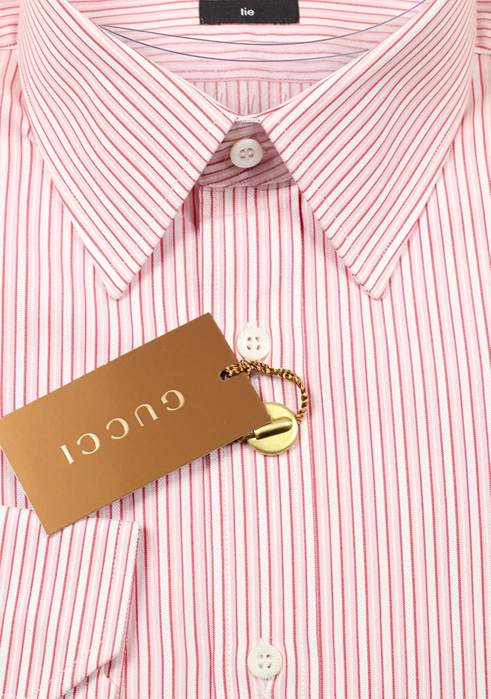 Gucci CL Striped Pink Dress Shirt Size 40/15, 75 U.S. Tie: Amazon ...