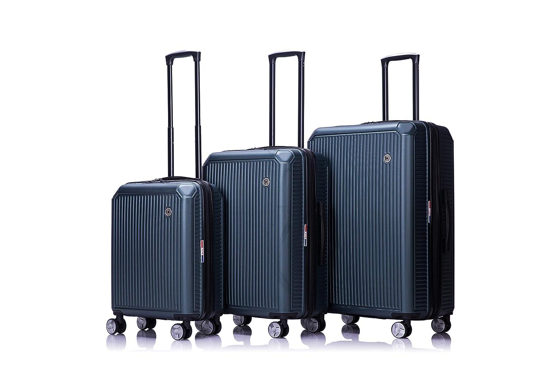 LYS Set de 3 Valises Extensible Vert Rigide ABS 4 Roues doubl/ées 55-67