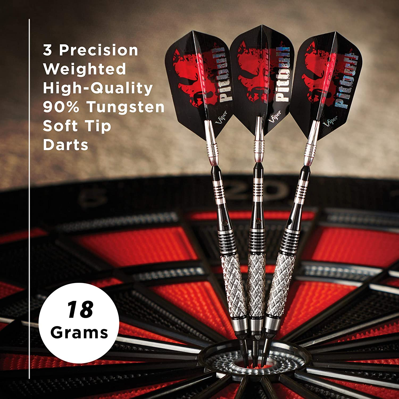 18 Grams Viper Pitbull 90/% Tungsten Soft Tip Darts with Storage//Travel Case