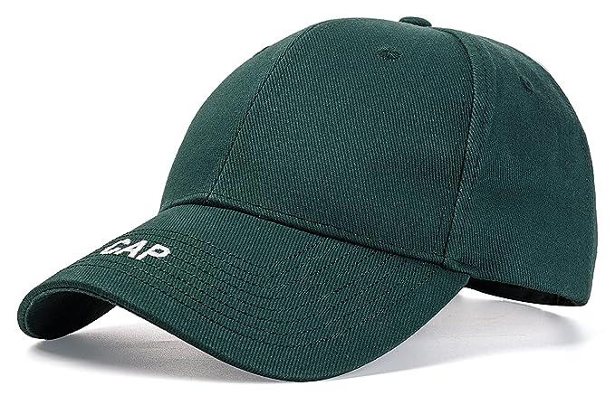 46b05118ff2 Easy Adjustable Casual Baseball Cap Unisex Hard Ball Hat (Dark Green ...