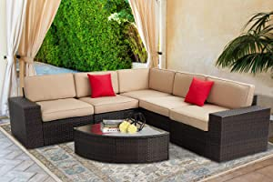 SOLAURA Outdoor Furniture Set 6-Piece Wicker Furniture Modular Sectional Sofa Set Brown Wicker Light Brown Cushions & Sophisticated Sector Glass Coffee Table with Waterproof Cover