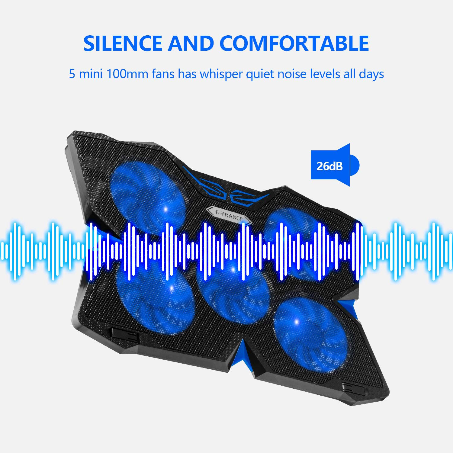Light Weight Fits for 14-17/'/' Laptop Laptop cooler Pad E-PRANC Laptop Cooling with 5 Fans Ultra-silent
