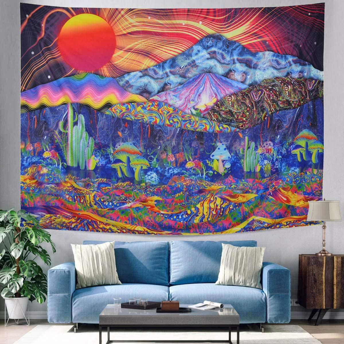 "ZCOINS Psychedelic Tapestry Trippy Mushrooms Tapestry Hippie Abstract Mountain Weed Tapestry Colorful Nature Landscape Tapestry Trippy Room Décor Trippy Poster for Living Room Bedroom (M-51"" x 59"")"