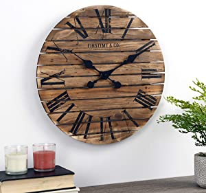 FirsTime & Co. Brown Augustus Farmhouse Shiplap Clock, American Designed, Brown, 18 x 2 x 18 inches