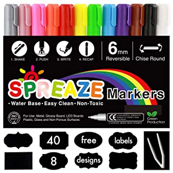 12 tinta borrable marcadores de tiza líquida (exclusivo de ...