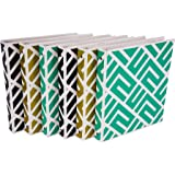 Samsill Fashion Design 3 Ring Binder, Maze Print, 1 Inch Round Rings, Assorted Colors  (Gold, Black, Aqua Green), Bulk Binders - 6 Pack