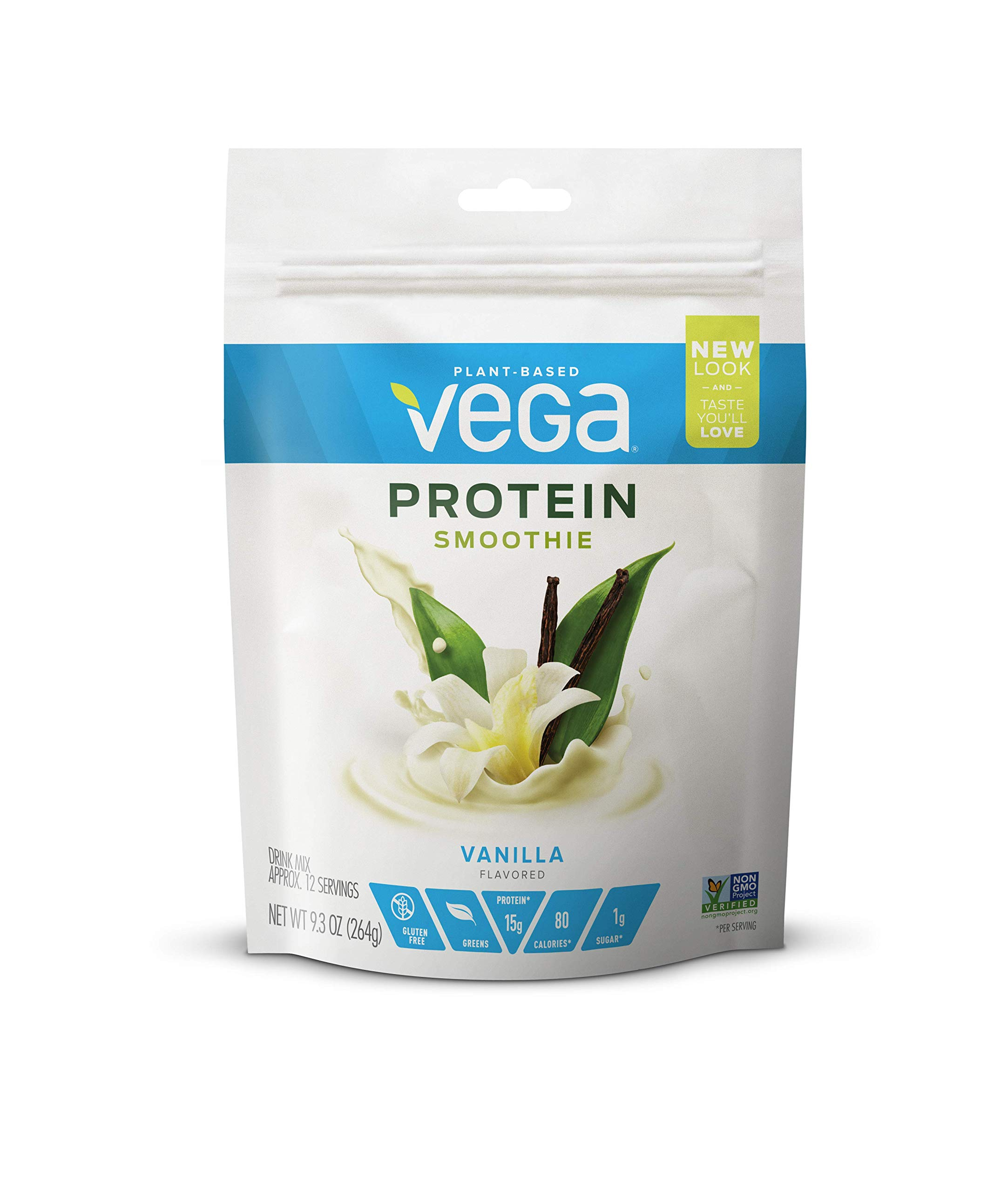 Vega Protein Smoothie, Vanilla, 12 Servings, 9.3 oz Pouch, Plant Based Vegan Protein Powder, Keto-Friendly, Gluten Free,  Non Dairy, Vegan, Non Soy, Stevia Free, Non GMO by VEGA