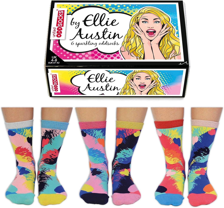 Ellie Austin Scatola scintillante di 6 Oddsocks UK 4-8 EUR 37-42 US 6.5-10.5