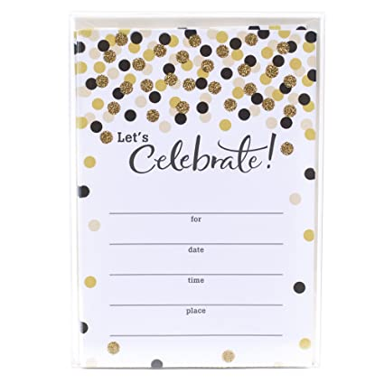 amazon com hallmark party invitations let s celebrate with gold