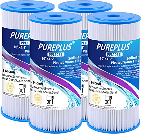 R50-BBSA 10 x 4.5 Whole House Big Blue Pleated Sediment and String Wound Water Filter Cartridge for Well Water Replacement for DuPont WFHDC3001 GXWH40L 2Combo Pentek R50-BB W50PEHD GE FXHSC