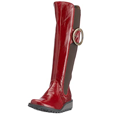 907ac4c0f51 Fly London Women s Midas Boot Red Leather Patent P210474017 5 UK ...