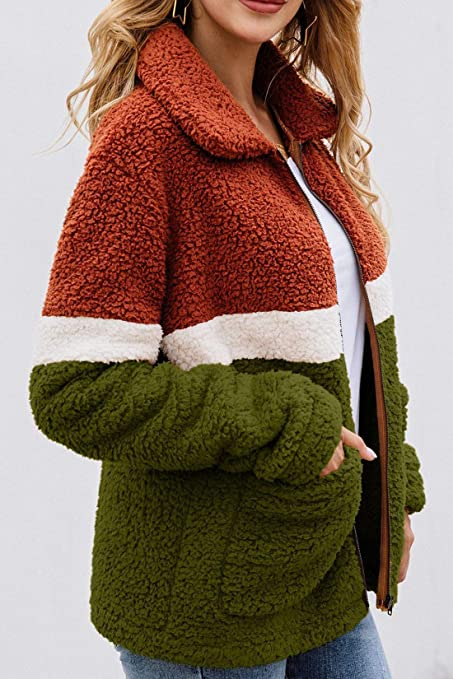 Minipeach Womens Faux Fur Fleece Sherpa Fluffy Zipper Long Sleeve Open Front Coat Contrast Color Block Outwear with Pockets