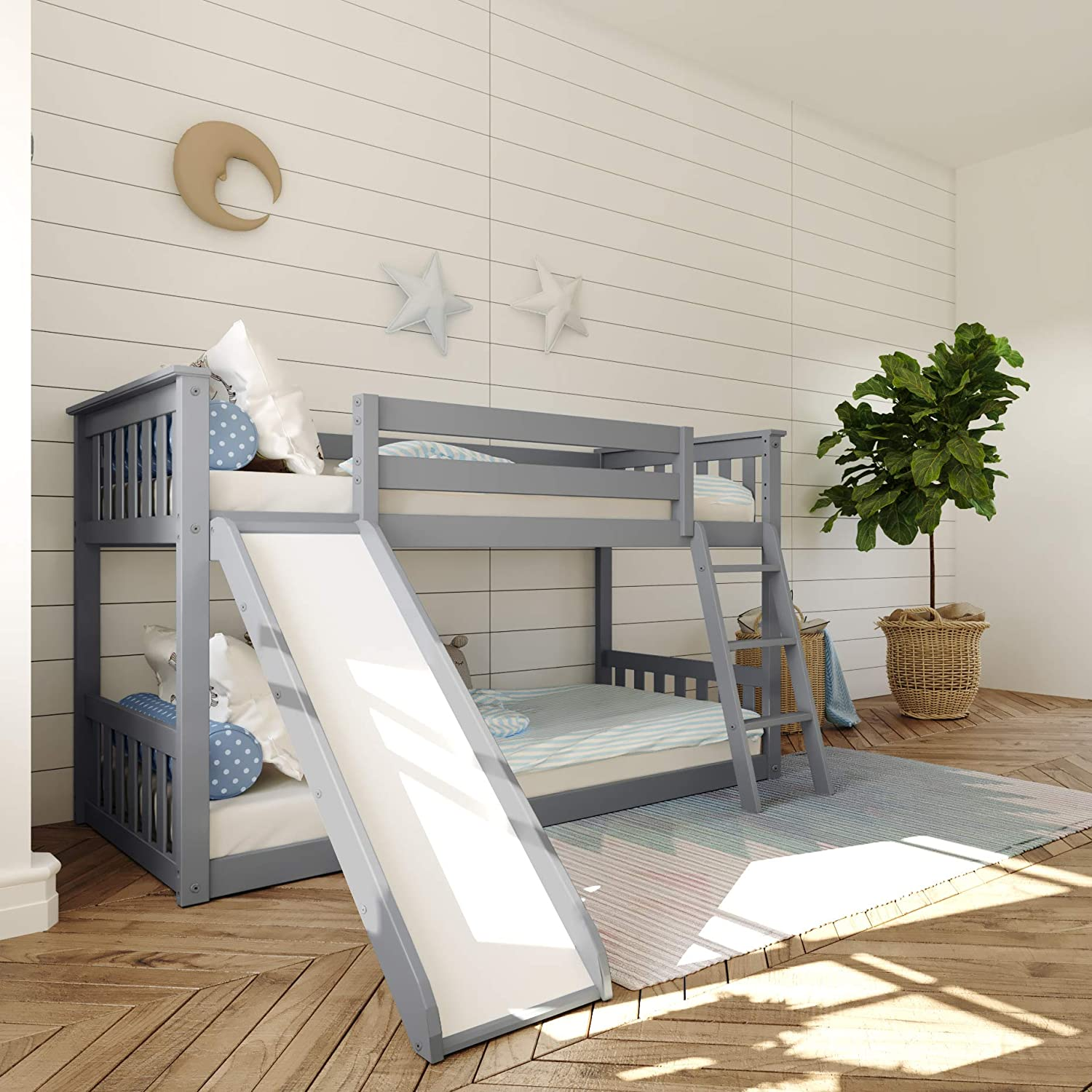 Max & Lily Twin Low Bunk Bed w/ Slide & Angle Ladder, Grey