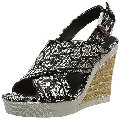 Calvin Klein Elaine CK Logo Jacquard/Vacche, Women's Heels Sandals