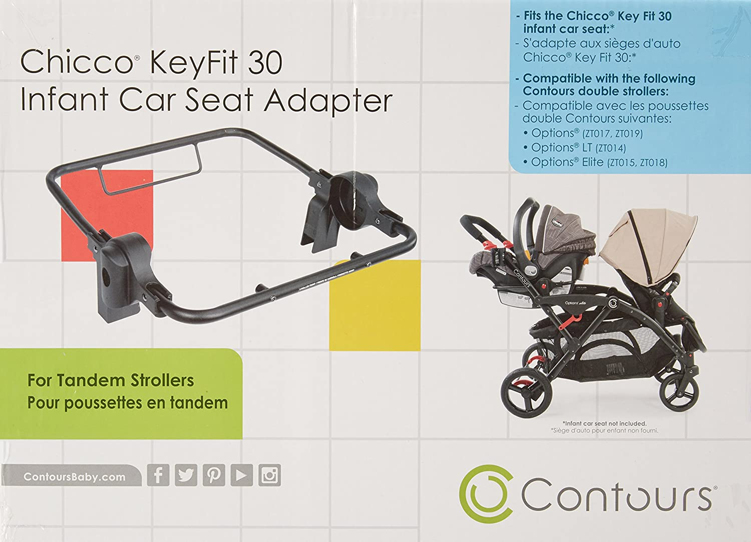 Amazon Contours Infant Car Seat Adapter Compatible With Chicco KeyFit 30 For Options Elite LT Tandem Strollers Baby