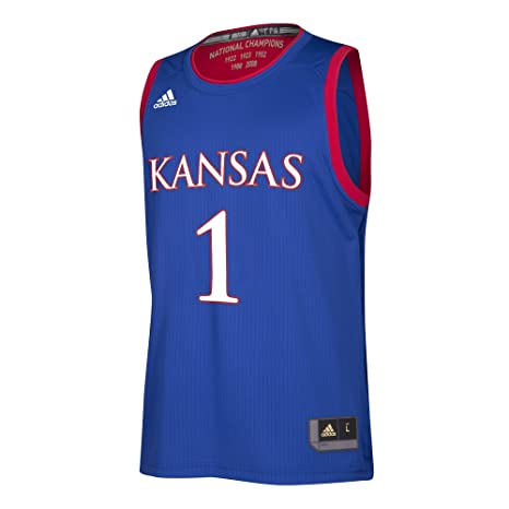 92468ffefd6 Image Unavailable. Image not available for. Color  NCAA Kansas Jayhawks  Replica Jersey