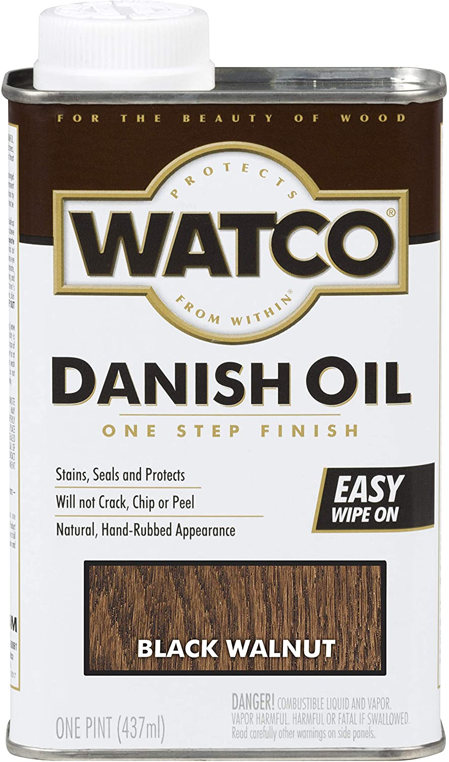 Watco 65351 Danish Oil Wood Finish, Pint, Black Walnut