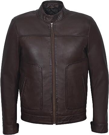 Men/'s New M-124 Black Napa Soft Real Lambskin Lather BIKER Rock Zipper Jacket