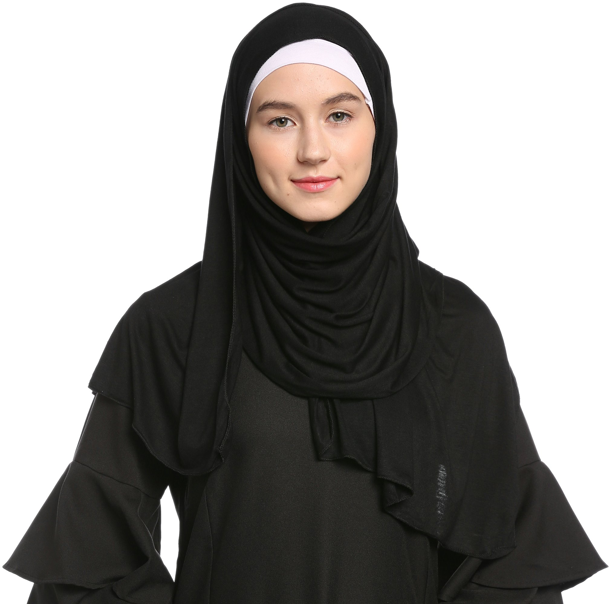 Ababalaya Fashion Womens Lightweight 100%Cotton Jersey Hijab Scarf, Black, One Size