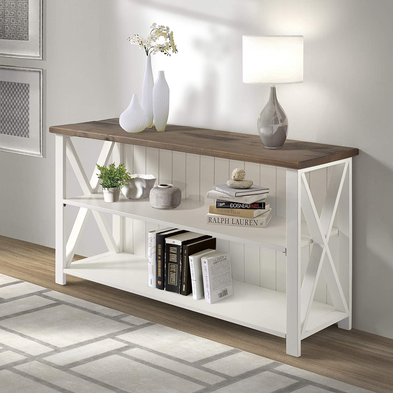 Walker Edison Furniture Company 2 Tier Modern Farmhouse Wood Bookcase Bookshelf Home Office Storage Cabinet, 52 Inch, White