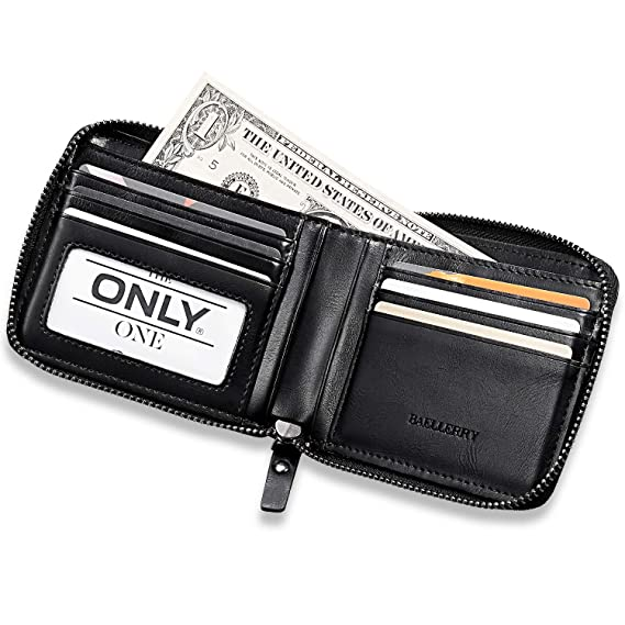 Amazon.com: Billetera de piel vintage con cremallera para ...