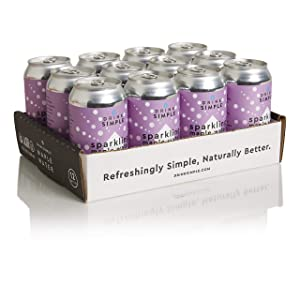 Drink Simple Organic Sparkling Maple Water, Blackberry Lemon, 12oz Cans, Pack of 12