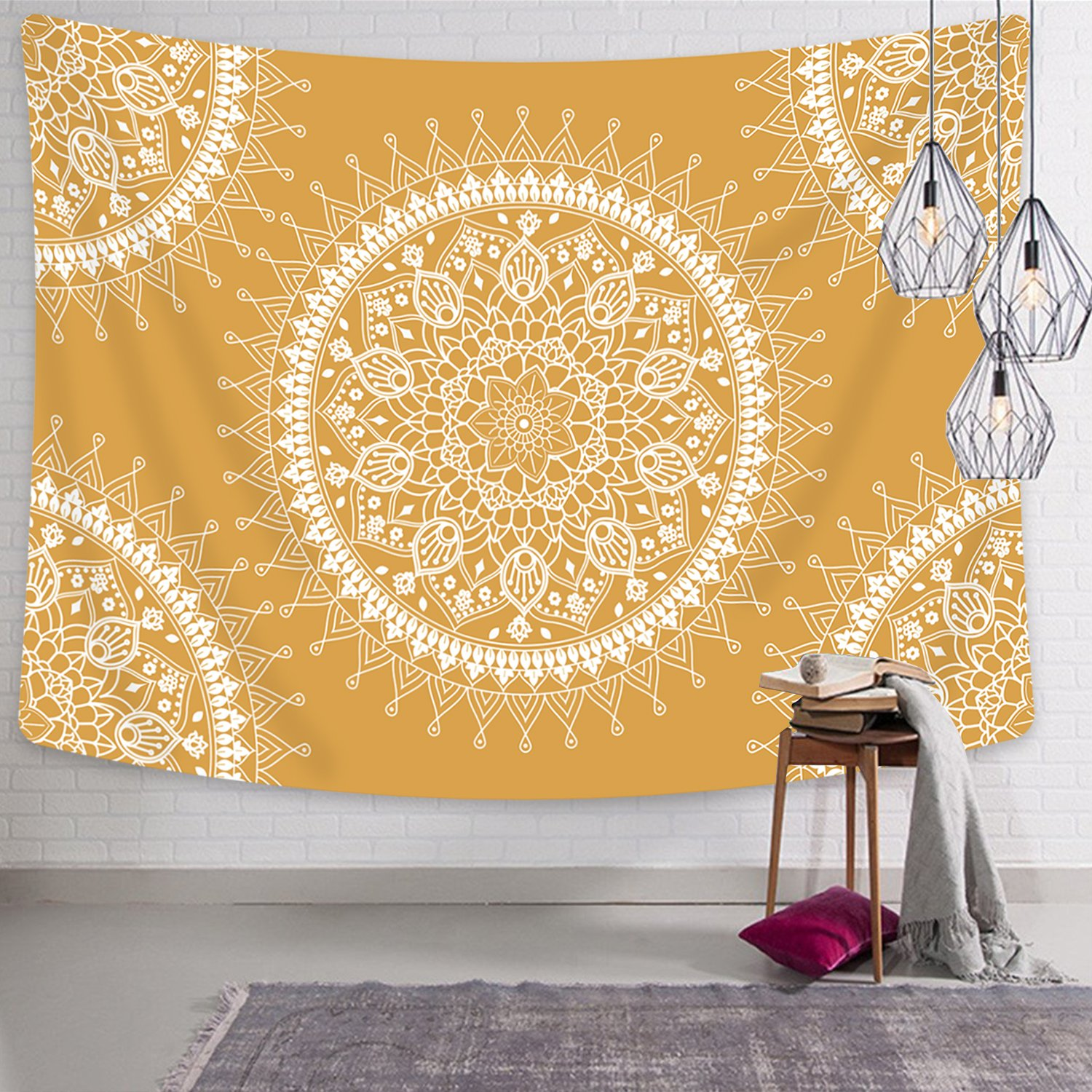 Tapestry Mandala Hippie Bohemian Tapestries Wall Hanging Flower Psychedelic Tapestry Wall Hanging Indian Dorm Decor for Living Room Bedroom