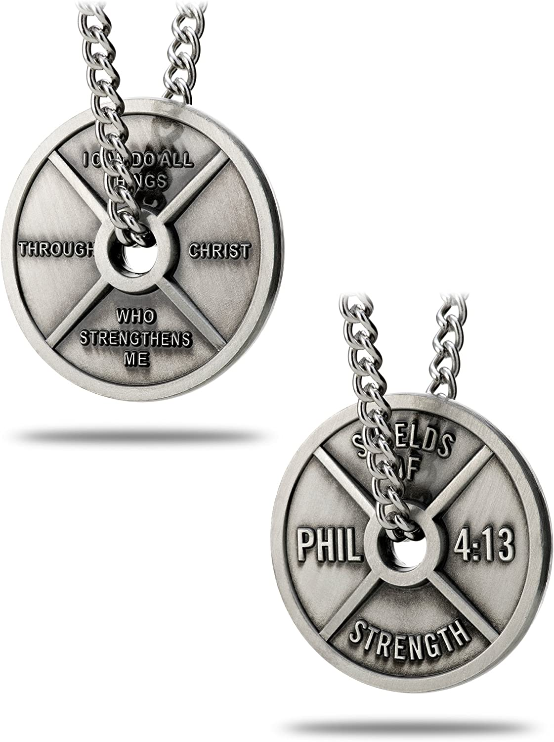 Shields of Strength Men's Antique Finish High Relief Weight Plate Necklace-Phil 4:13