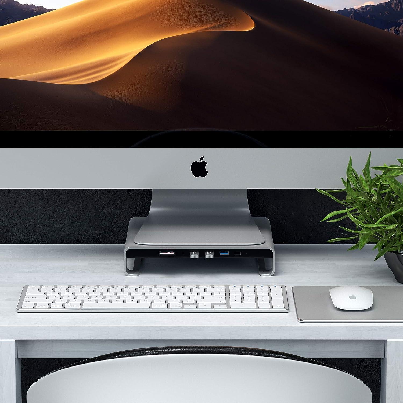 SATECHI Support de Type-C pour iMac en Aluminium avec Données USB-C Intégrées, USB 3.0, Lecteur de Cartes Micro/SD & Prise de Casque Compatible avec iMac Pro et iMac 2016/2017 (Argent)