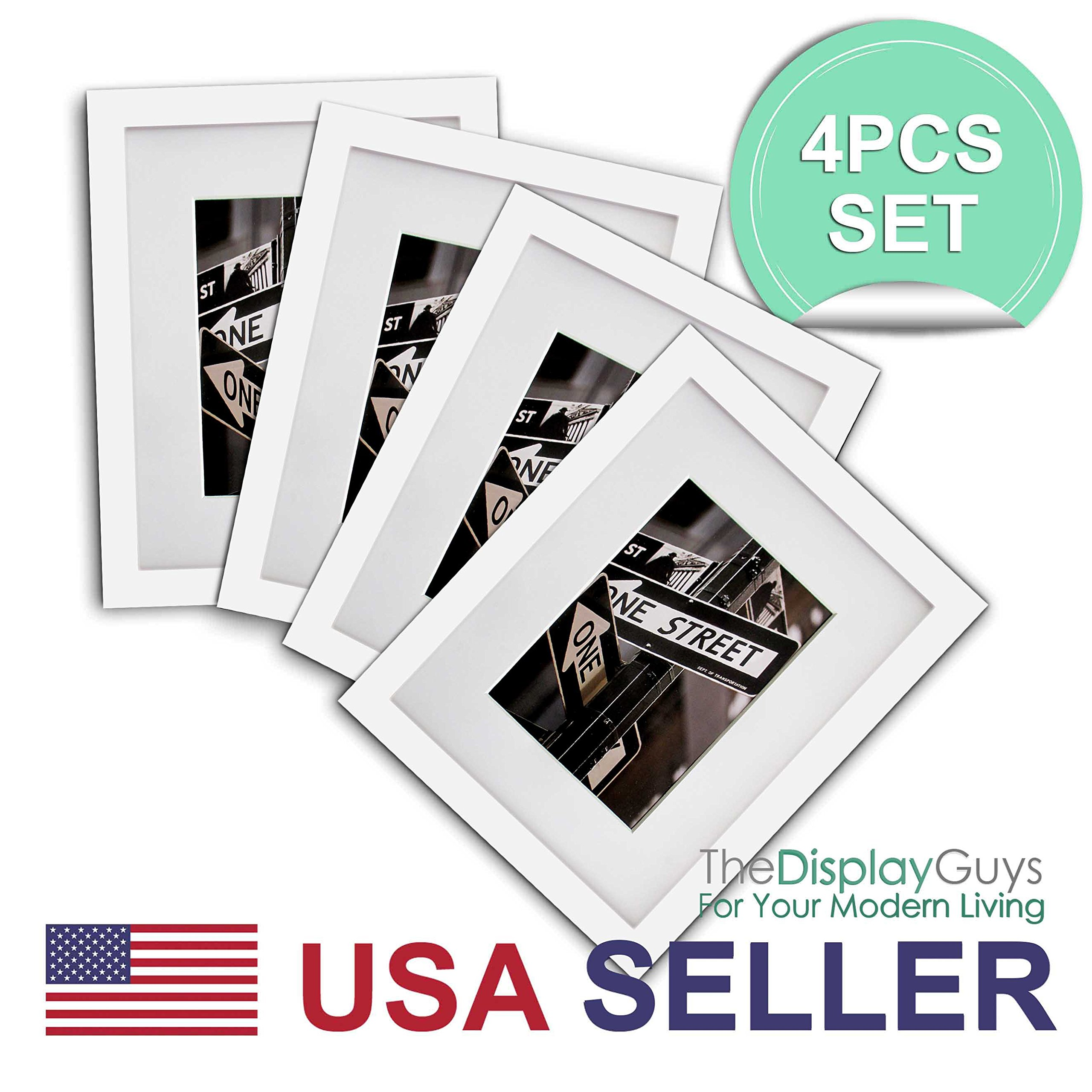 The Display Guys~ 4 Sets 11x14 inches White Solid Pine Wood Photo Frame, Tempered Glass, Luxury Made Affordable, with White Core Mat Boards for 8x10 Picture + Collage Mat Boards for 2-5x7 Pictures
