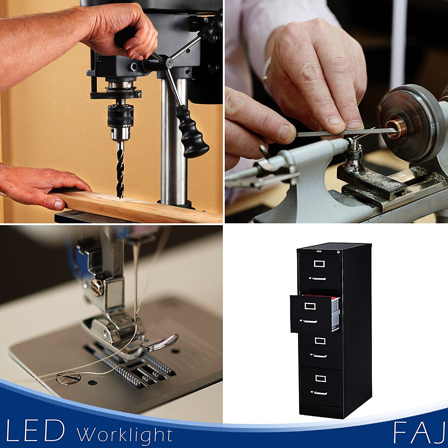 FAJ Magnetic 12-Inches Extra Long Flexible Gooseneck Arm Multifunctional Worklight, Bright Daylight LEDs Sewing Machines, Lathes, Drill Presses, Workbenches, Music Stands (30 led) by FAJ (Image #7)